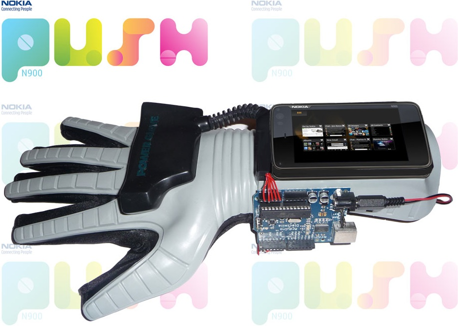 Prototype image of the Nokia N900 + NIntendo Power Glove + Arduino + Bluesmirf hack